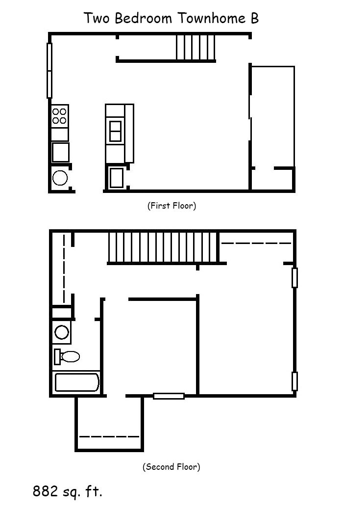 2 Bedroom Townhomes: Two Bedroom Townhome B